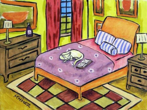sleeping white cat art print 11x14 wall art gift JSCHMETZ modern