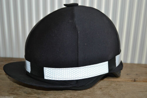 SILVER HONEYCOMB HI VIZ REFLECTIVE FLUORESCENT RIDING HELMET HAT BAND * NEW