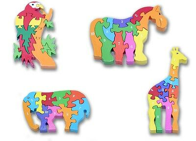 NEW CHILDRENS WOODEN JIGSAW PUZZLE HORSE GIRAFFE PARROT ELEPHANT.IDEAL FOR KIDS