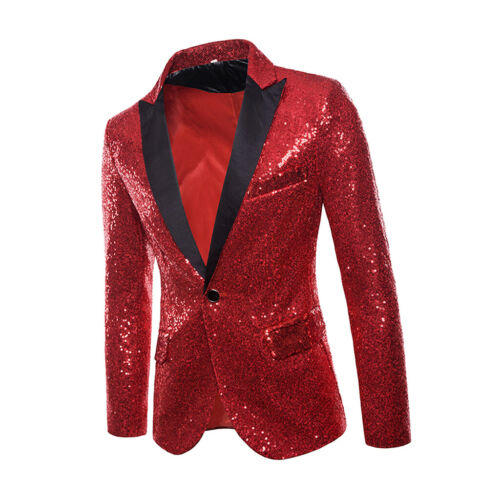 Mens Tuxedo Suit Gentleman One Button Party Bling Sequins Coat  Jacket