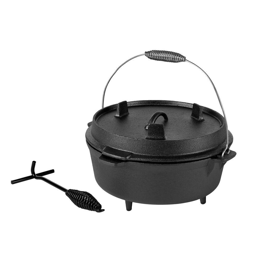 Dutch Oven feu chaudière chaudière chaudière 6 Qt + couvercle élévateur en fonte chaudière Rôtissoire Camping BBQ 477350