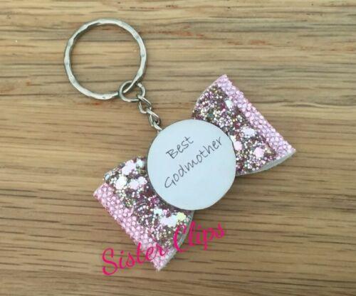 Handmade best godmother keyring bag charm gift glitter pink champagne