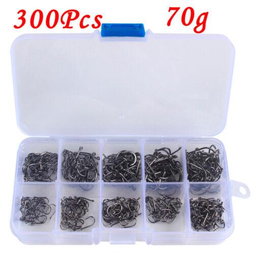 300 Stück 1 Box Angelhaken 10 verschiedene Größen Angelhaken aus