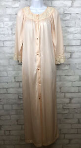 Vintage Gilead  Nylon Pink Silky w/Lace Nightgown Housecoat Robe Size Small