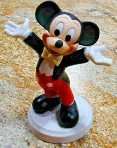"Walt Disney Tuxedo Mickey Mouse Ceramic Bisque Figurine 7"" Large - Mexico"