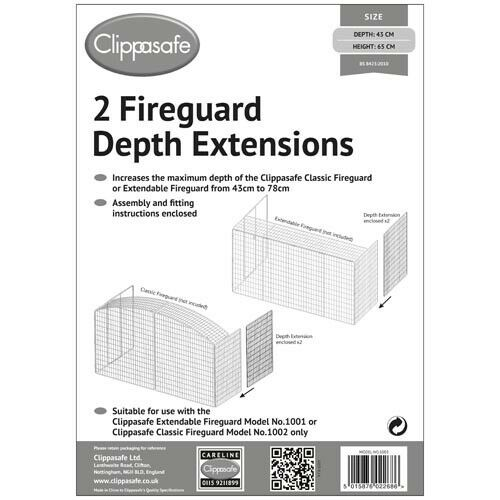 Clippasafe Child Safety Fireguard Depth Extensions 2 Pack EXTENSION ONLY