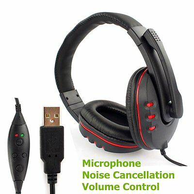 Headset Gaming Headphone Earphone Game Stereo With USB Mic Noise Canceling