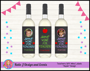 Personalised Teachers Gift Christmas Xmas Wine Bottle Labels Gifts