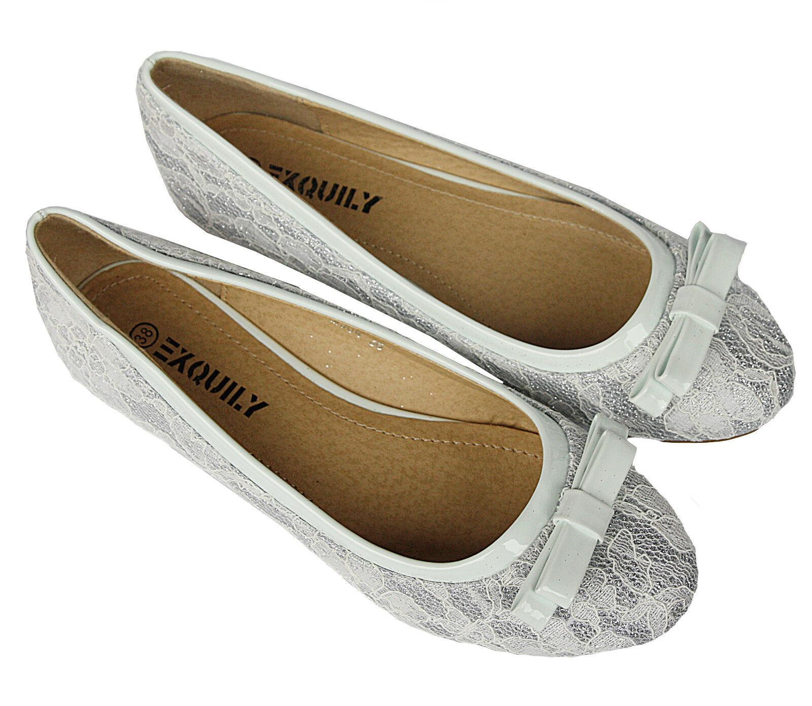 BALLERINA BRAUT zapatos AUS  AUS zapatos SPITZE IN WEISS  SILBER SEHR EDEL -  M904 d89944