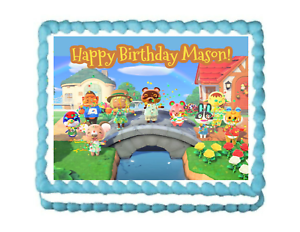Awesome Animal Crossing Edible Image Birthday Cake Topper Decoration Personalised Birthday Cards Veneteletsinfo