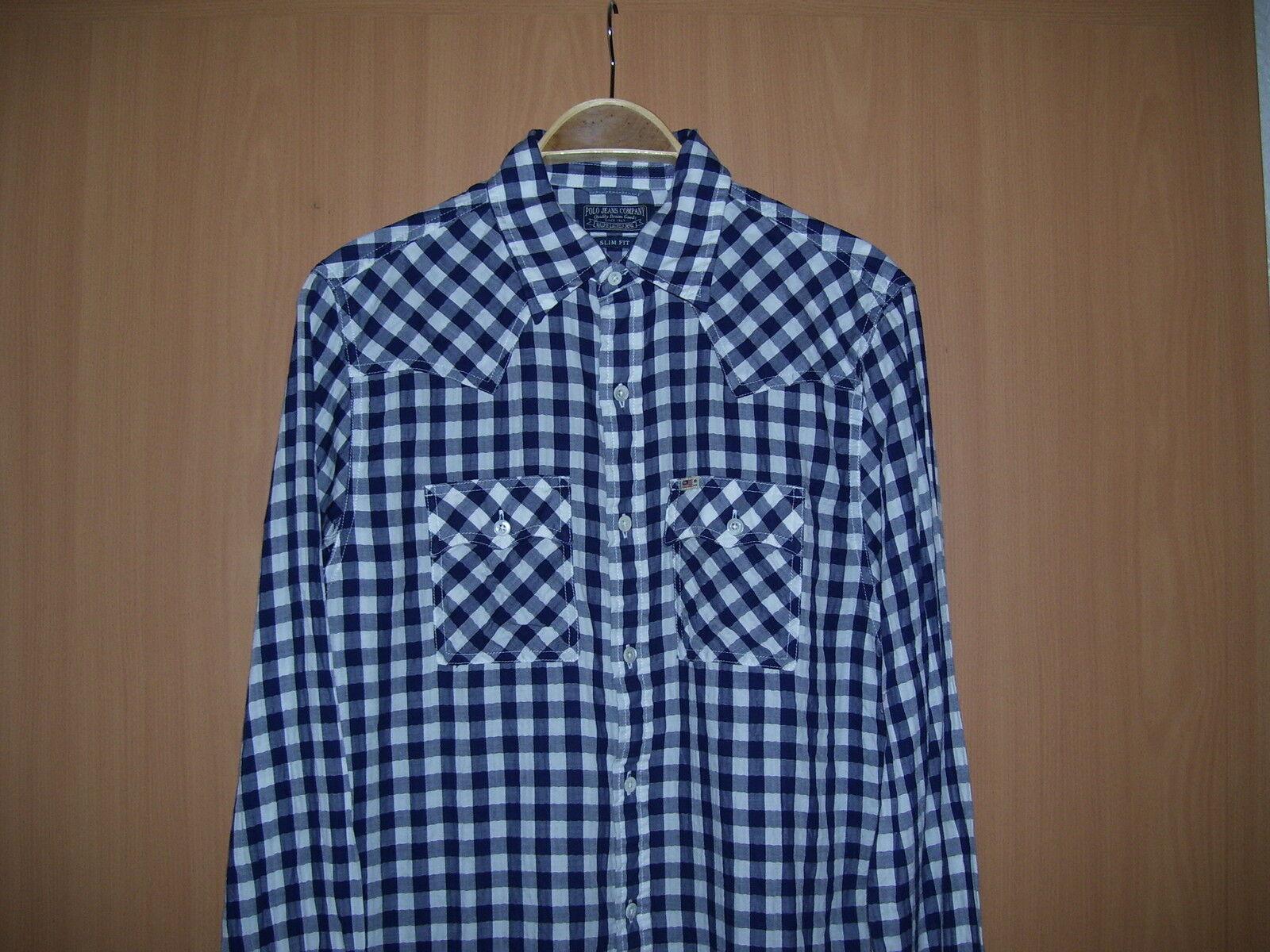 Ralph Lauren Herren Hemd Langarm 2 Brusttaschen blau weiß kariert Grösse M neu