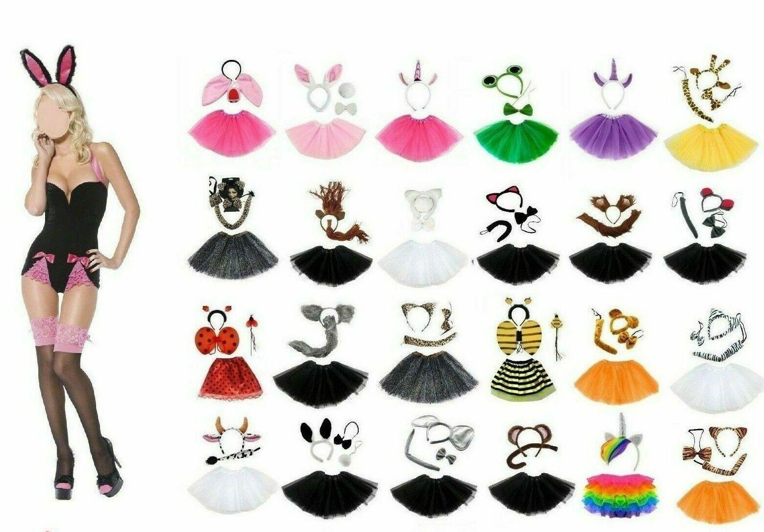Animal Costume Set Adult Ears Tail Tutu Set Headband Bow Play Drama Fancy Dress