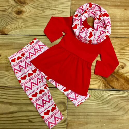 SALE Baby Girl Toddler Valentine's Day Heart Scarf Boutique Outfit Clothes 12-18
