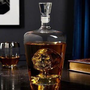 Skull liquor decanter storage bar glass phantom gift drink for Decor drink bottle