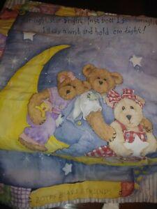 Boyds-BEARS-CRIB-Quilt-Headboard-Cover-Blanket-BOY-VINTAGE-Wish-Upon-A-Star