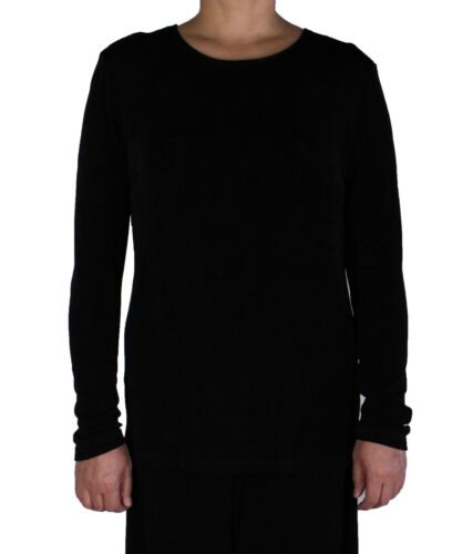 Women/'s Black Jewel Neck Tunic Acetate Spandex Slinky Stretch Long SleeveTop