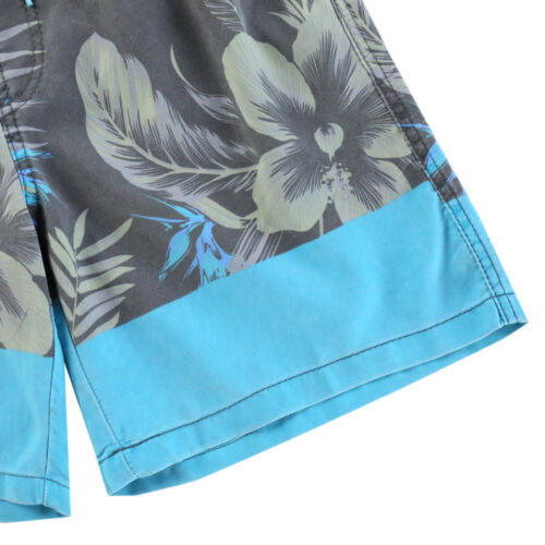 Men/'s Floral Beach Vacation Swim Trunk Pocket Board Short Charcoal Blue