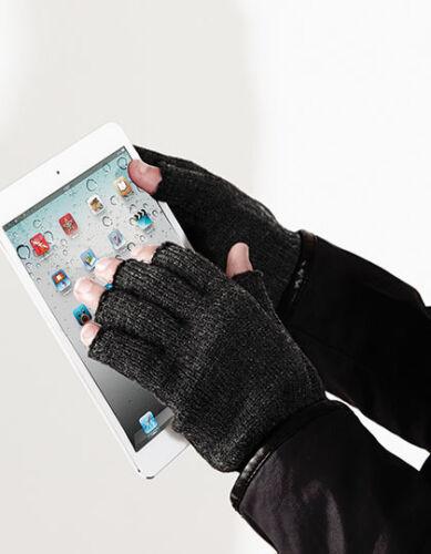 Handschuhe Fingerlos Strick Soft Touch Feinstrick schwarz grau Beechfield CB491