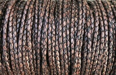 3.28 Feet Xsotica® Antique Brown Round Bolo Braided Leather Cord 5 mm 1 Meter