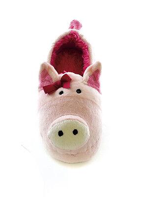 Girls / Kids / Childs Plush 3D Animal Pig / Cow Slippers - Sizes UK 9 - 2