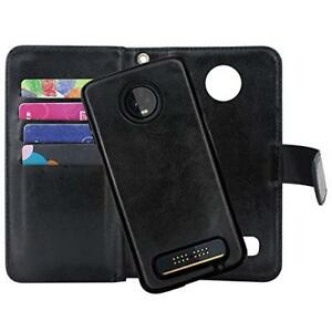 huge selection of 6492e 0578a Details about Motorola Moto Z3/Z3 Play Wallet Case PU Leather Magnetic  Detachable Cover Black