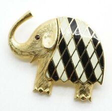 VINTAGE GOLD TONE Enamel ELEPHANT BROOCH PIN Trunk Up Republican Party GOP