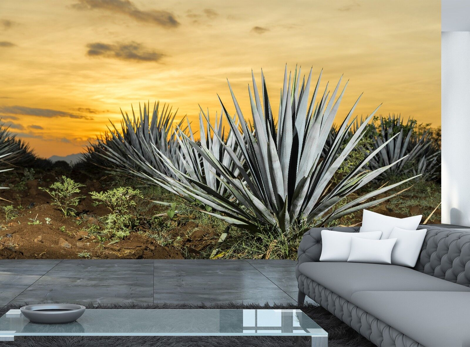 Removable Wall Mural LanimioLOX Sharp Pointed Agave Plant Leaves Self-Adhesive Large Wallpaper