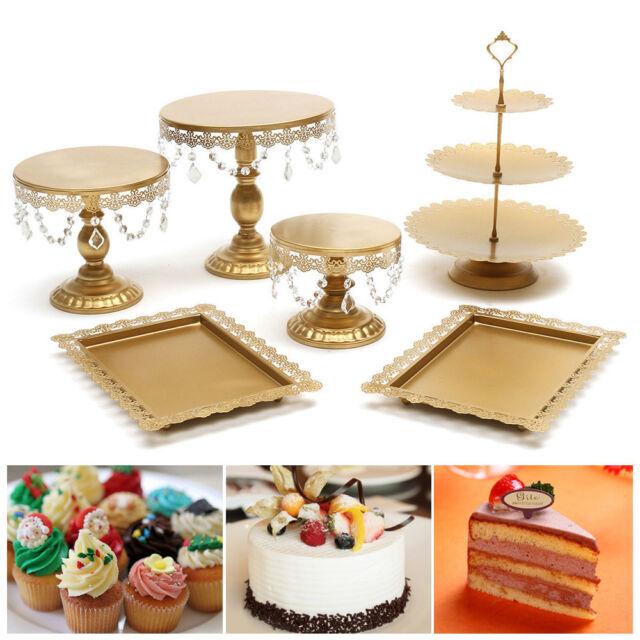 Wedding Cupcake Cake Stand Crystal Metal Round Plate Party Dessert Display Tower