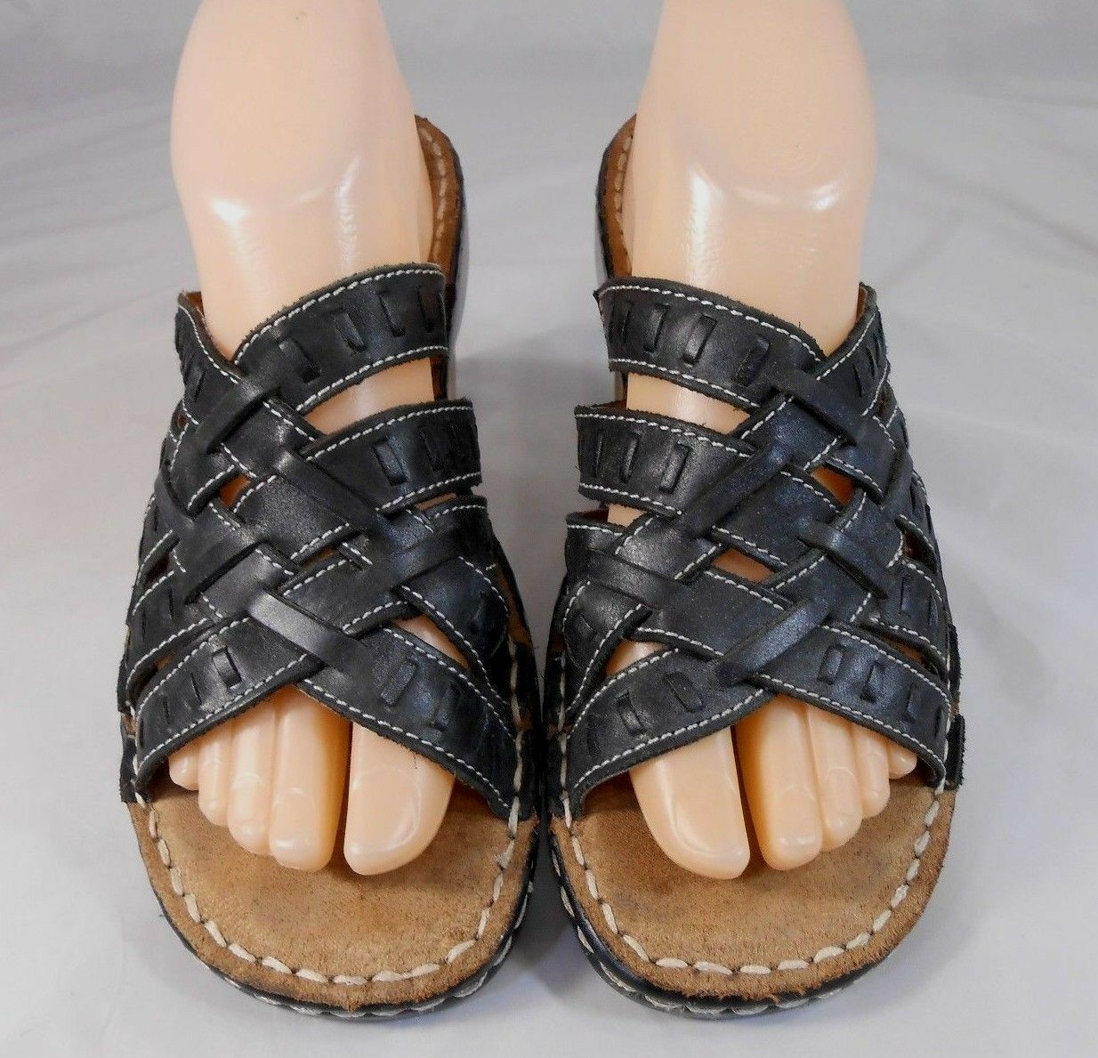 Naturalizer CLOVE Womens Strappy Sandals Size On 8 M Leather Slip On Size Black Beige 90087e