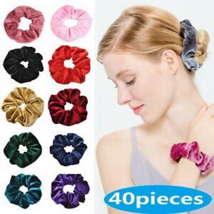 40-Paquet-Velours-Cheveux-Chouchous-Cravates-Elastique-Bandes-Cordes-Pour-Femme