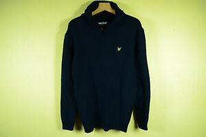 LYLE-amp-SCOTT-PREMIUM-MEN-039-S-NAVY-BLUE-LAMBSWOOL-JUMPER-SHAWL-NECK-KNITWEAR-L