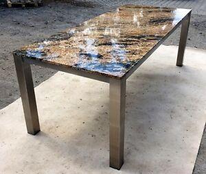 Gartentisch wohnzimmertisch 220x100 naturstein granit wetterfest edelstahl stein ebay for Wohnzimmertisch edelstahl