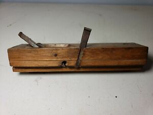 Antique Chinese Wood Plane Molding Plane brass wood has markings