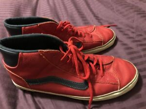 1df8707a48 Details about Vans Mens Shoes Old Skool High Tops Red Black Leather  Skateboard Sneakers 13