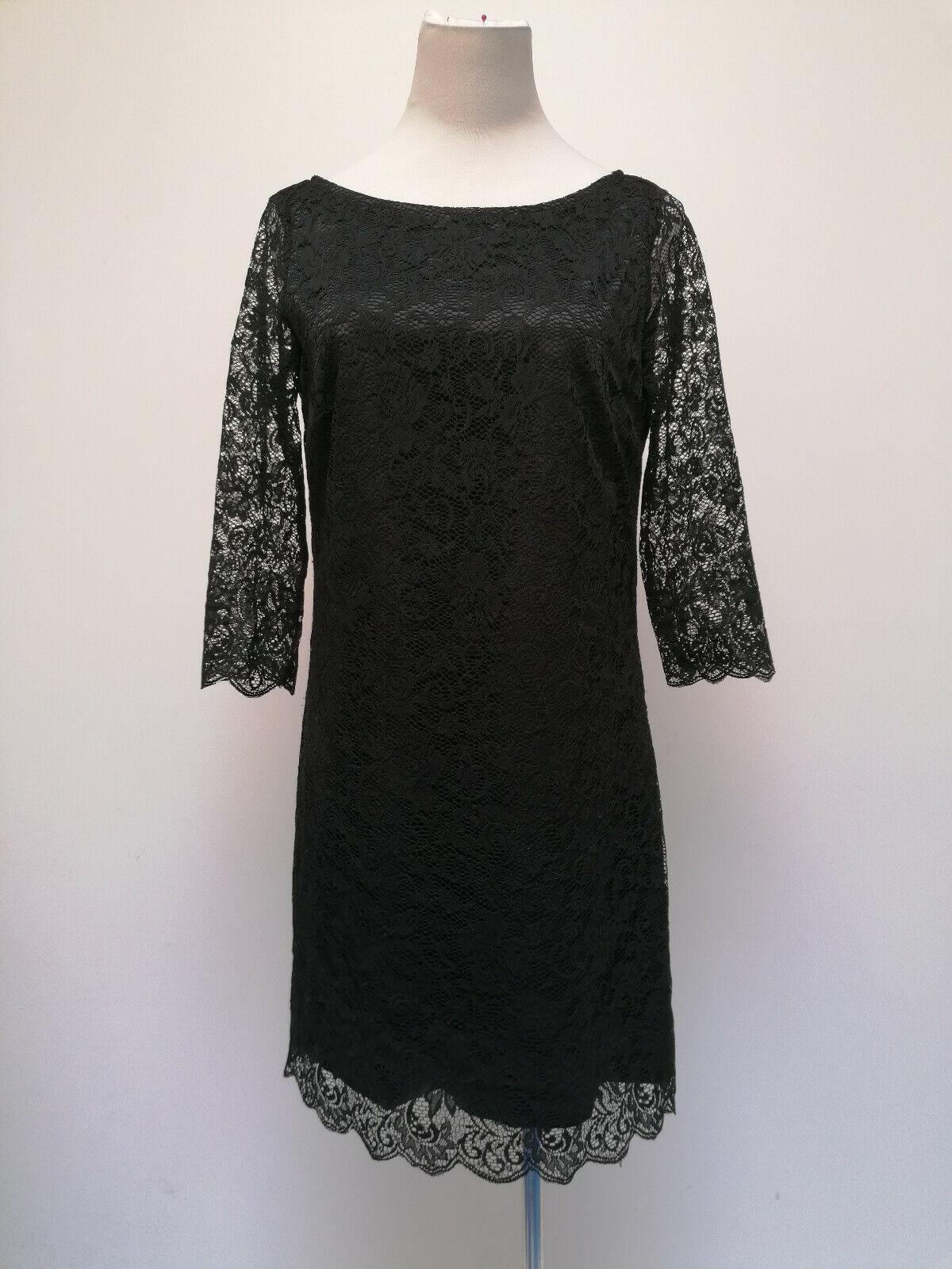 de.corp Esprit Damen 3/4 Ärmel Spitze Kleid schwarz Blumen Größe 36 36257