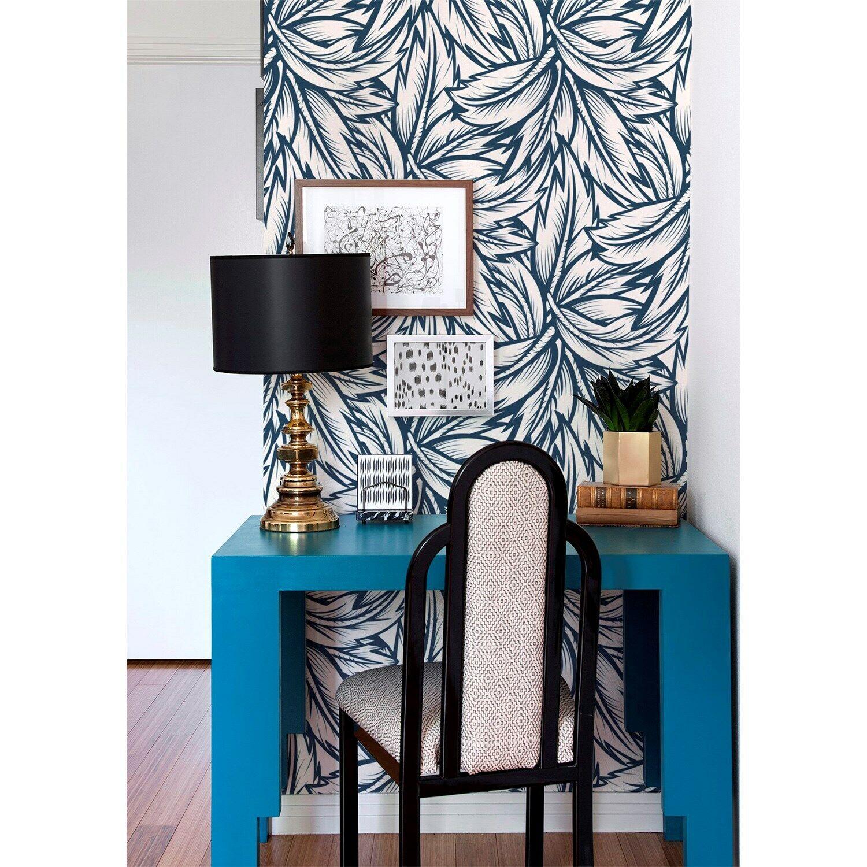 Removable wallpaper Navy Blau leaves Floral self adhesive art