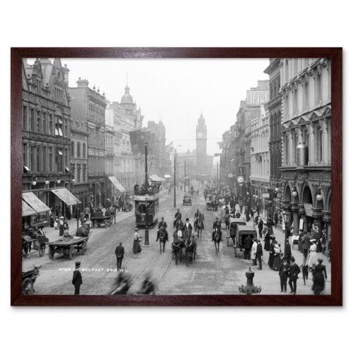 High Street Belfast Irlanda del Norte 1906 Pared Arte Impresión Enmarcado 12x16