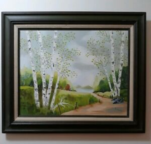 """B.HOUGH Antique Oil Painting. Signed Framed. """"Birch Trees"""" Measures 22 x 26"""