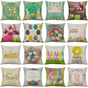 Am-KF-Happy-Easter-Egg-Rabbit-Flower-Pillow-Case-Cushion-Cover-Sofa-Bed-Decor