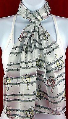 Dancing G Clefs Womens Music Themed Notes Score Scarf Gift White Scarves New