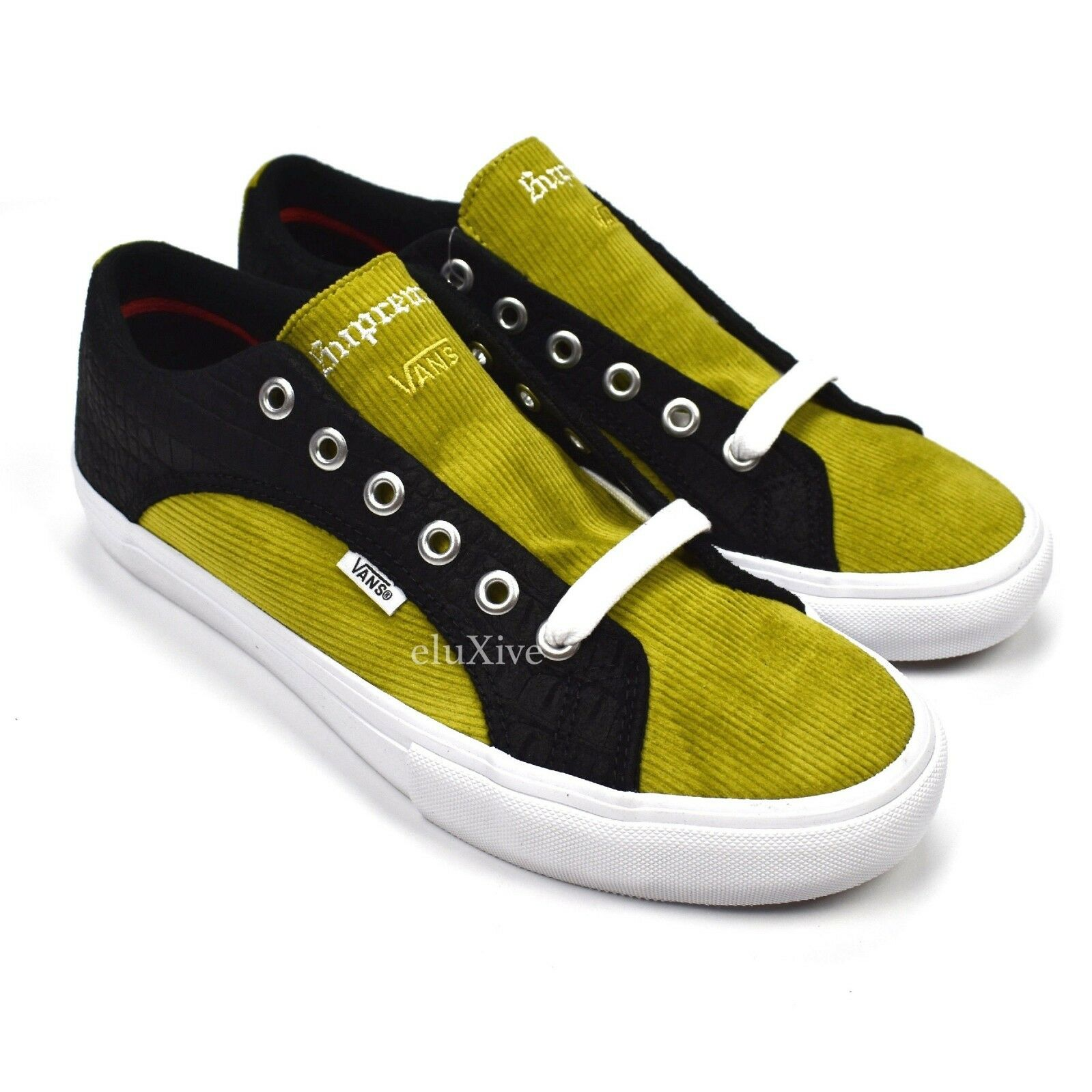 NWT Supreme x Vans Croc Suede Mustard Corduroy Lampin Pro Sneakers 9.5 AUTHENTIC