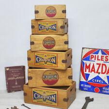 Vintage Champion Spark Plugs Box Wooden Spares Crate Classic Car  Enamel Sign