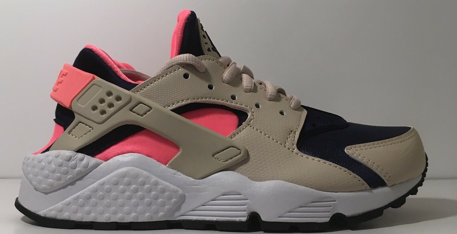 SZ.5 Nike Womens Air Huarache Run 634835-111 Oatmeal Binarybluee LavaGlow