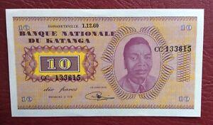 Katanga-Congo-Belge-Belgique-Magnifique-billet-de-10-Francs-du-1-12-1960