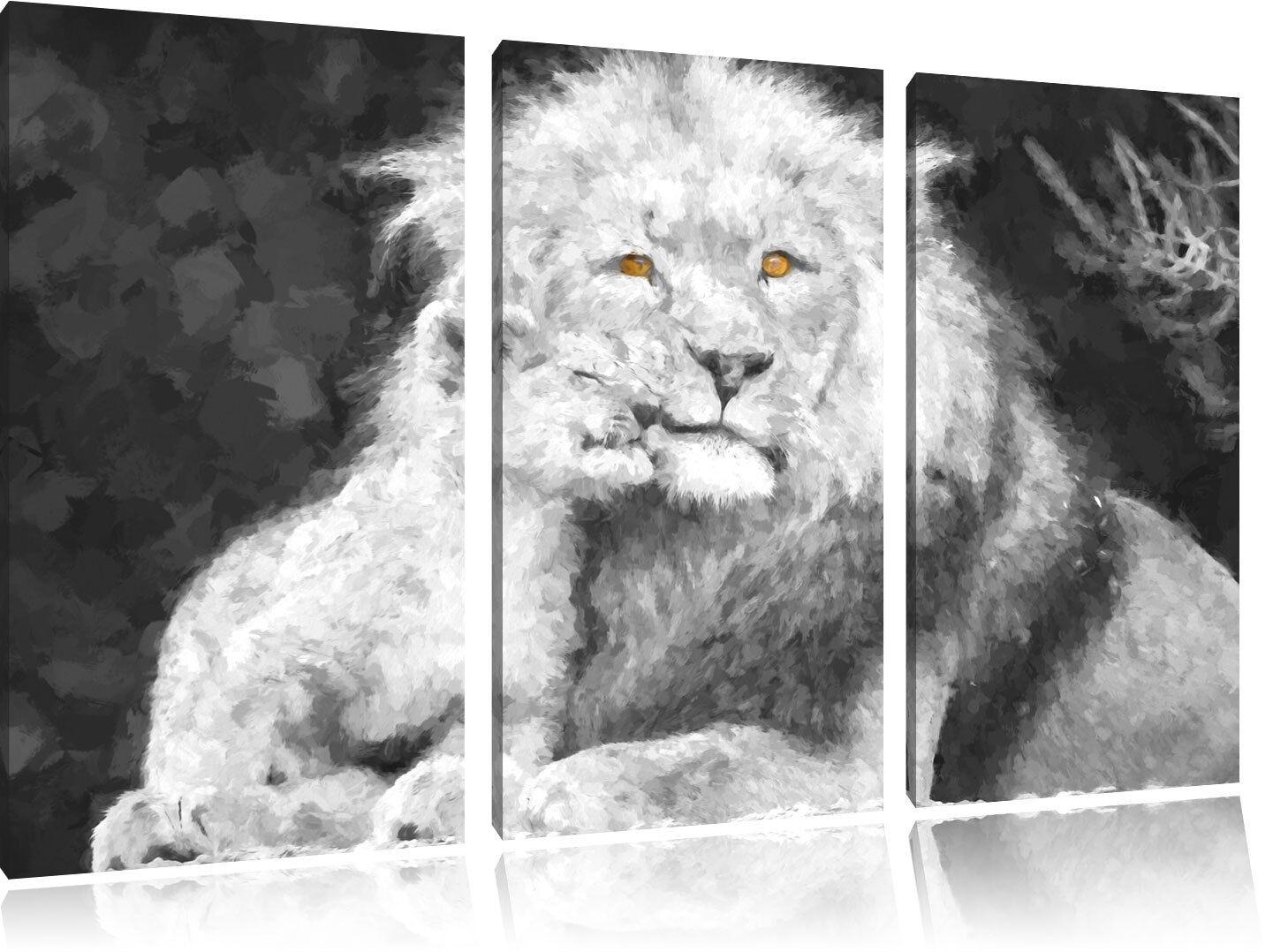 Bello Leone con Animale Giovane 3-Teiler Quadro su Tel Decorazione Parete