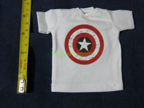 """1//6 Scale Tee White Short Sleeves T-Shirt Captain America For 12/"""" Action Figure"""