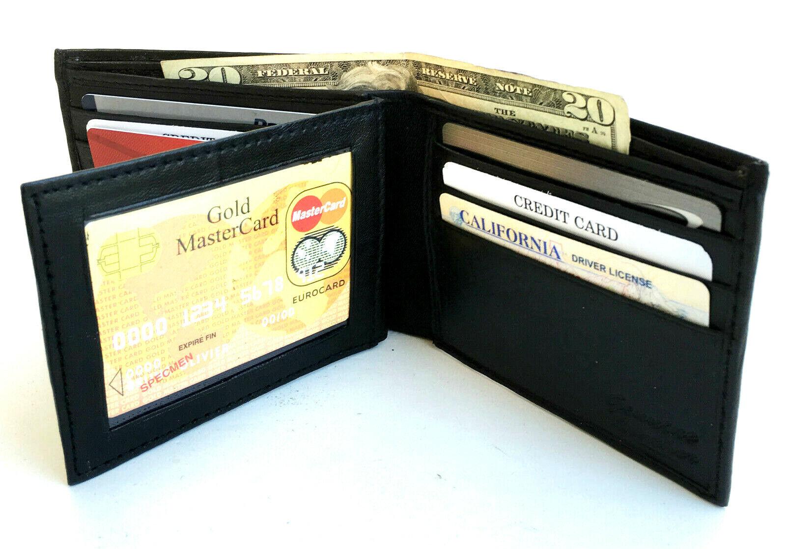 BLACK MENS LEATHER BIFOLD WALLET 11 Card Center Flap Front Pocket
