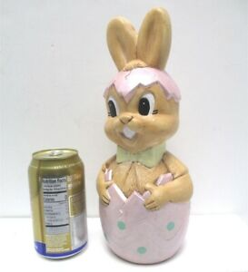 """Vintage Easter Decor Handpainted Ceramic Bunny Hatching from Egg 11"""" Tall 1970s"""