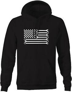 Sweatshirt Mechanic DIY Wrench American Flag