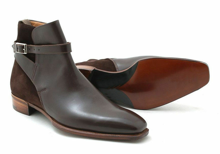 Mens Handmade Boots Jodhpurs Ankle Brown Leather Suede Formal Dress Casual shoes